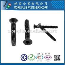 Taiwán Cabeza plana de 6 lóbulos Negro Tipo de terminación de fosfato y aceite Tipo F Tornillo de rosca de punto Tornillo de suelo