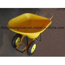 Two Wheel Plastic Tray Wood Handle Wheel Barrow