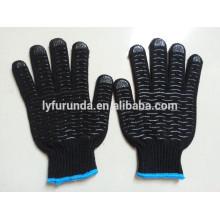 Schwarze Farbe pvc dots beschichtete Baumwoll-Arbeitshandschuhe