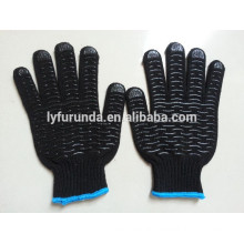 black color pvc dots coated cotton working gloves