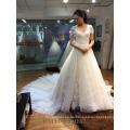 Wunderschöne Blume aus Schulter langen Zug Mädchen Brautkleid aus China
