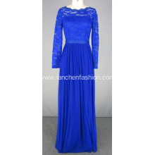 Royal Blue Lace Long Sleeve Chiffon Evening Dress