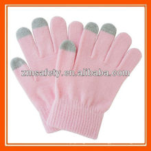 Guantes de 3 dedos para smartphone con tacto suave de color rosa