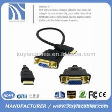 Mini varón de HDMI de 1FT 0.3M al cable de HDTV del adaptador del conectador de M / F del VAG HD15 los 30cm