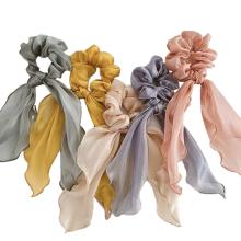 Bandeau fascia per capelli Korean Solid organza silk Ribbon satin Hair Tie Elastic Band Scrunchies Cute Girl Ponytail Hairband