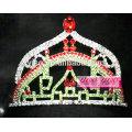 Acessórios de jóias de cabelo de cristal pequena tiara de castelo arco íris