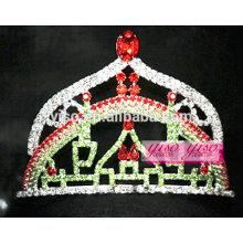 Accesorios cristalinos de la joyería del pelo pequeña tiara del castillo del arco iris