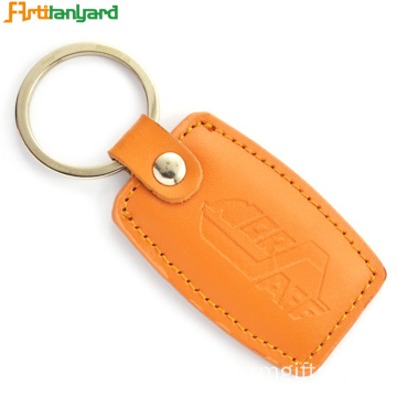 Logotipo do cliente PU Leather Keychain