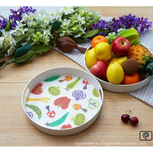 Bamboo Fiber Tableware Tray with Printed (BC-TP1004)