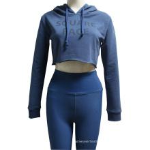 Blue Crop Top Running Hoodie For Women
