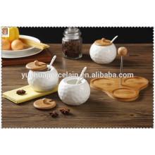 Chaozhou porcelaine 3 compartiments sel et pot de poivre