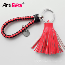 Cheap Custom Handmade Leather Keychain With Tassel