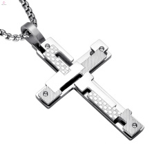 Religion Jewelry Russian Double Layer Steel Orthodox Cross Pendant Necklace