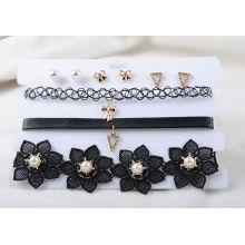 Drei Reihen von schwarz PU und Stoff Halskette Ohrringe Set