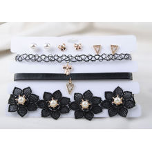 Three Rows of Black PU and Fabric Choker Earring Set