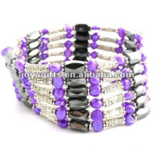 Magnetic Purple Pearl Beaded wrap Bracelets & Necklace 36""