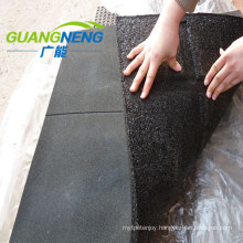 Black Color Gym Rubber Tile, 30mm Thick with Groove