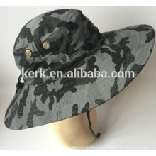 Sol proteger camo al aire libre pescador desgaste al por mayor en blanco sombrero de cubo personalizado con cadena