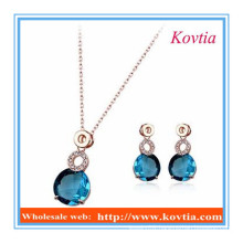 China blue crystal jewelry necklace and earring sets for women