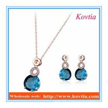 China colar de jóias de cristal azul e conjuntos de brinco para as mulheres