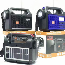 T-722A Support USB TF CARD FM RADIO Portable Blue Tooth Wireless Speaker Amplifier With Solar With Led Light