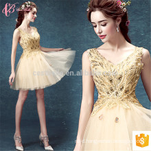 Bling Elegant Golden Short Chiffon Appliqued Plus Size Evening Dress for Women