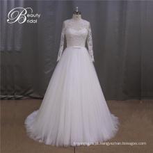 Novo vestido de noiva manga longa Applique 2016