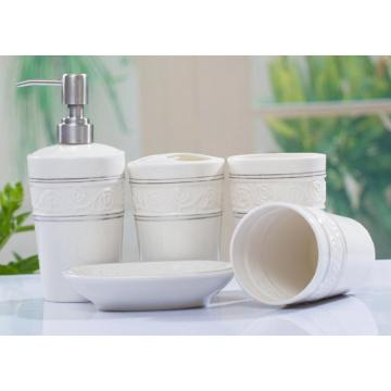 5 PC Of Ceramic Bath Set Engraved With Solid Color
