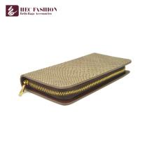 Хек 2018 подгонять мода большой емкости дамы молния портмоне простой дизайн бежевый серый два цвета PU кожаный бумажник для женщин