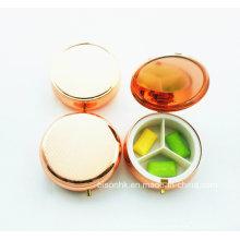 Étui de pilule ronde en couleur personnalisée, boîte à pilules rouges Rose