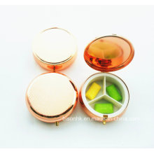 Caixa de pílula redonda de cor personalizada, caixa de pílula vermelha rosa