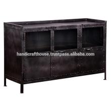 Industrial Metal Black Vintage 3 Tür TV Stand