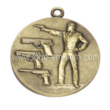 Custom Sport Event Medal Antique Brass Plated Lanyard Available