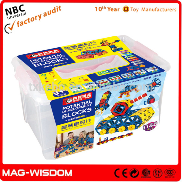 2016 Mag-Wisdom Magic Potential Development Building cheap Building Block for Toys 1188pcs Set