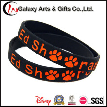 Wholesale Custom Promotion Black Rubber Debossed Silicone Bracelet Logo