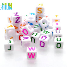 Wholesale white back colored letter alphabet beads