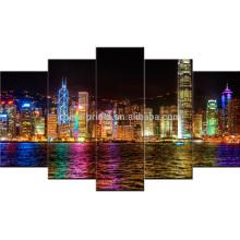 Lona de la imagen del paisaje de la noche de Hong Kong / arte estirado de la lona / impresión de la pintura