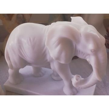 Statue d'éléphant en marbre blanc