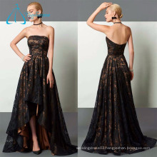 2017 New Arrival A-Line Strapless Asymmetrical Lace Evening Dress