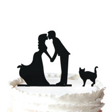 Bride and Groom Kissing Couple with Pet Cat Silhouette Wedding Cake Topper