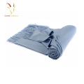 Lenço de caxemira italiano azul Mens com franja