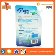 Standing customized print plastic liquid soap packaging bag with spout