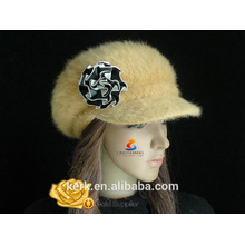 lingshang high quality rabbit fur fashionable flower warm knit hat beret for winter