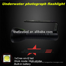 JEXREE Unterwasser-Fotografie Tauch-Taschenlampe mit USB-Aufladung