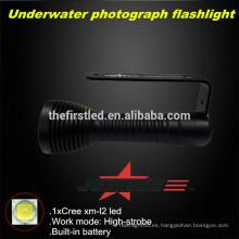JEXREE Fotografía submarina Linterna de buceo con carga USB