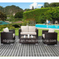 PE Rattan y muebles de aluminio del marco, sofá al aire libre de la rota