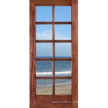 Puerta de madera sólida del diseño moderno con precios de las puertas de cristal