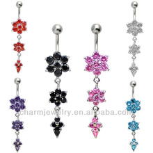 Flower Dangle Belly Bar Pierced & Modified Body Jewellery Navel Rings BER-016