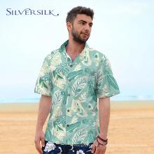 хлопковая гавайская рубашка с принтом в виде листьев фламинго для мужчин
