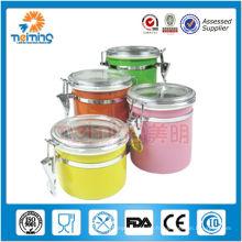 Boîte hermétique colorée de café de 4pcs d'acier inoxydable, boîtes de thé
